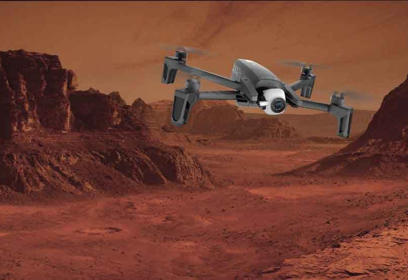 A Drone quadcopter flying on Mars