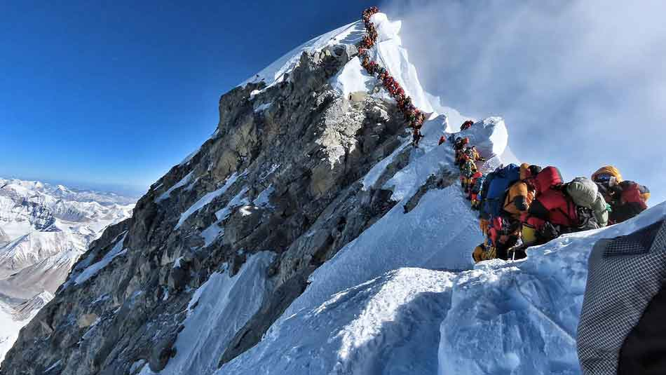 A group of mountain climbers trying to reach the summit of Everest.