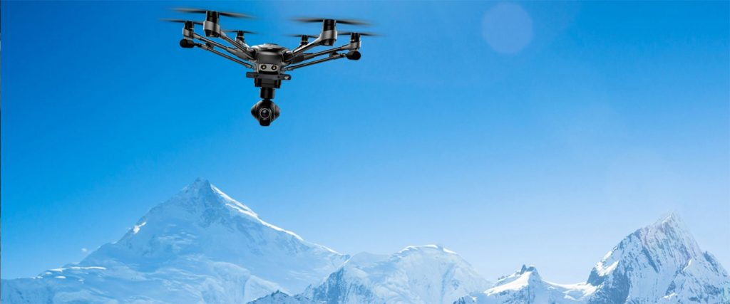 A view of Everest and a drone flying over Everest