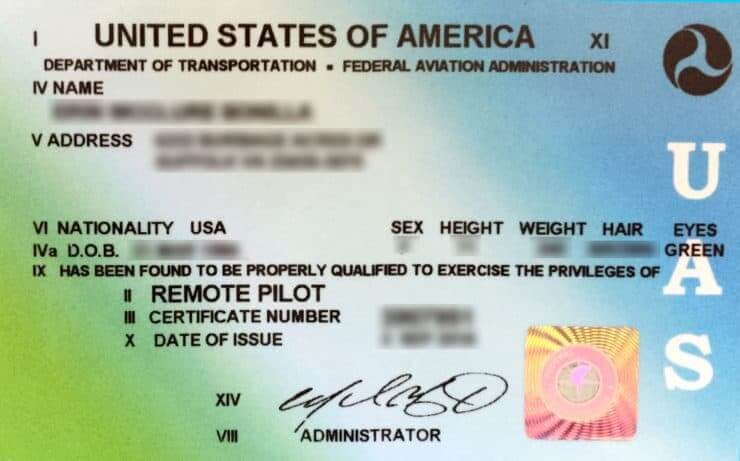Part 107 Certificate for flying drones.