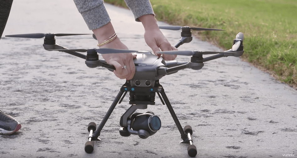 A person ready to launch Yuneec Typhoon H Drone