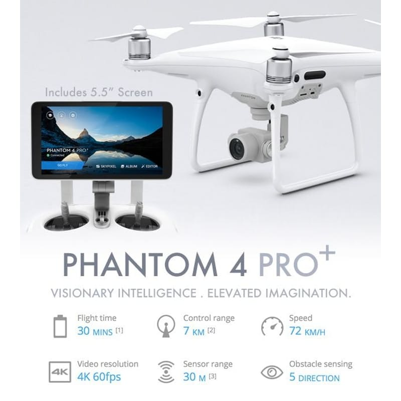 Picture of DJI PHANTOM 4 PRO+ with specifications.
