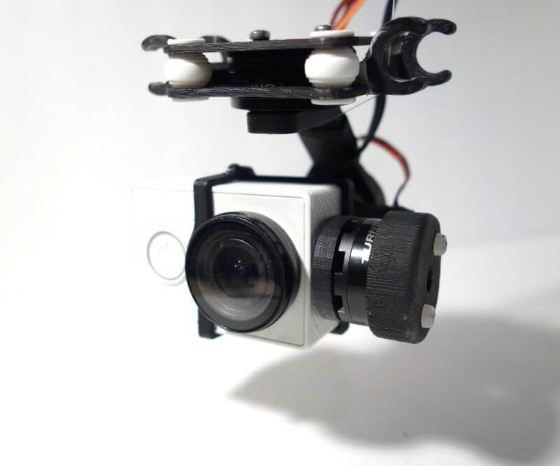 3-Axis Gimbal attached to the drone with GoPro Camera