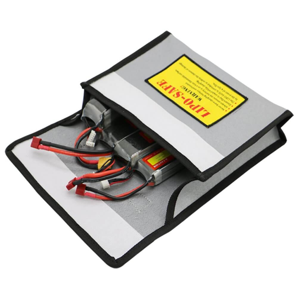 Drone batteries inside their bags.