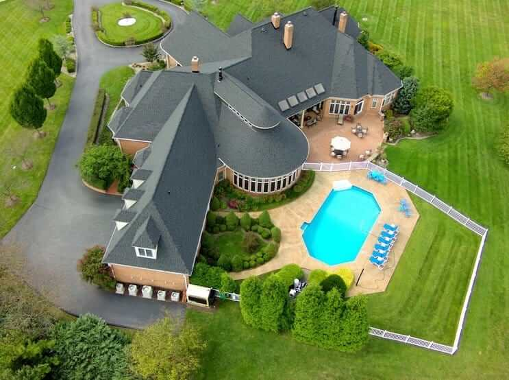 Drone taking a beautiful shot of a real estate property.