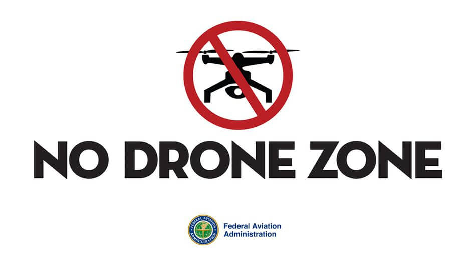 No Drone Fly Zone sign from FAA.