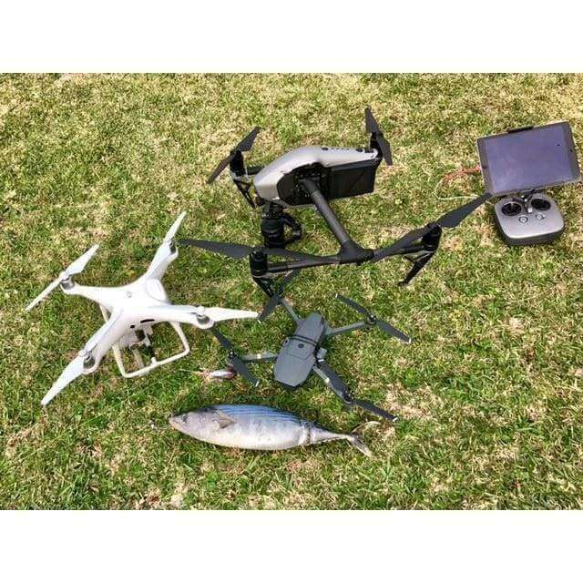 DJI Inspire drone with its controller after catching a fish.