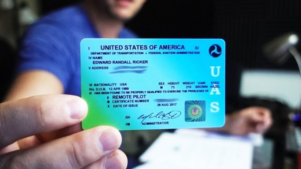 A sample picture of commercial drone license.