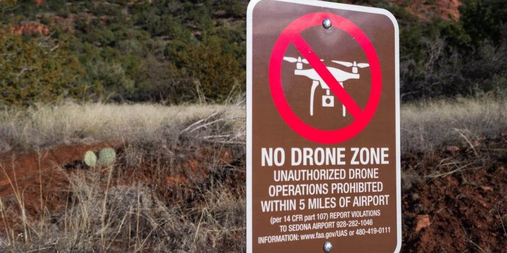 No Drone Zone Sign close to the airport.