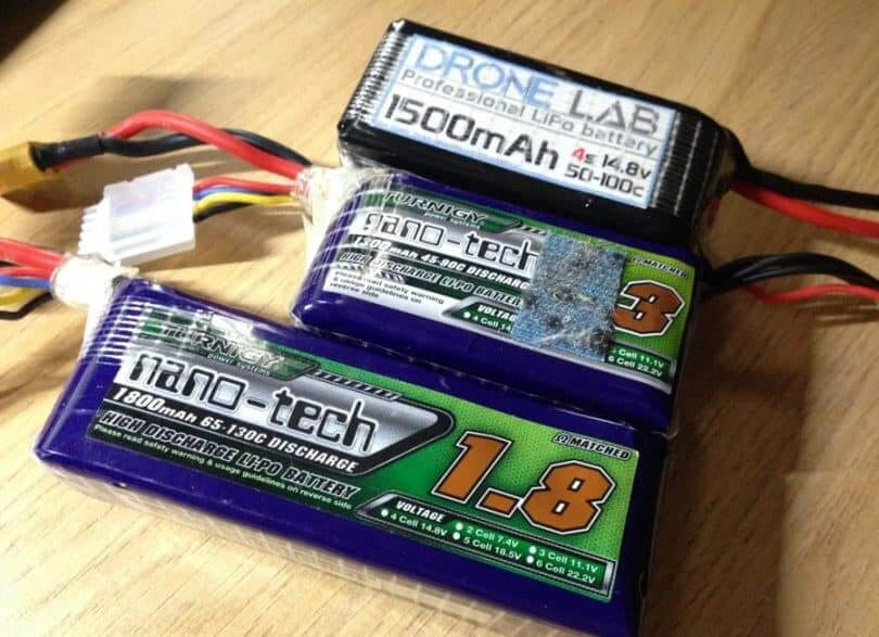 Lipo batteries are most commonly used for drones.