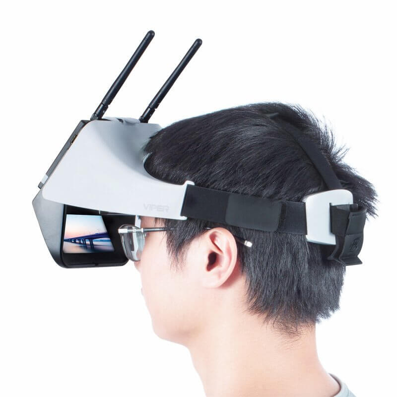 A person wearing a FPV Goggle.