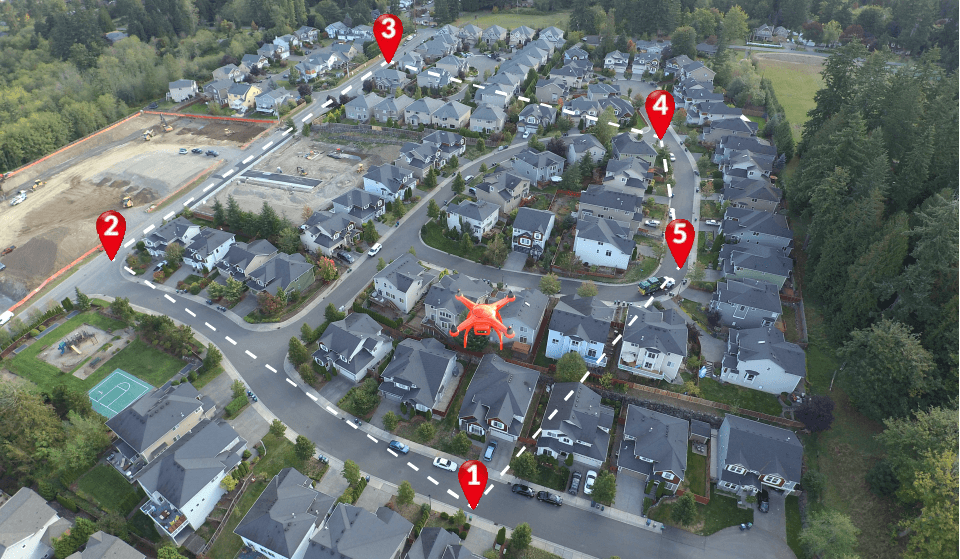 Waypoints are predetermined location for the drone.
