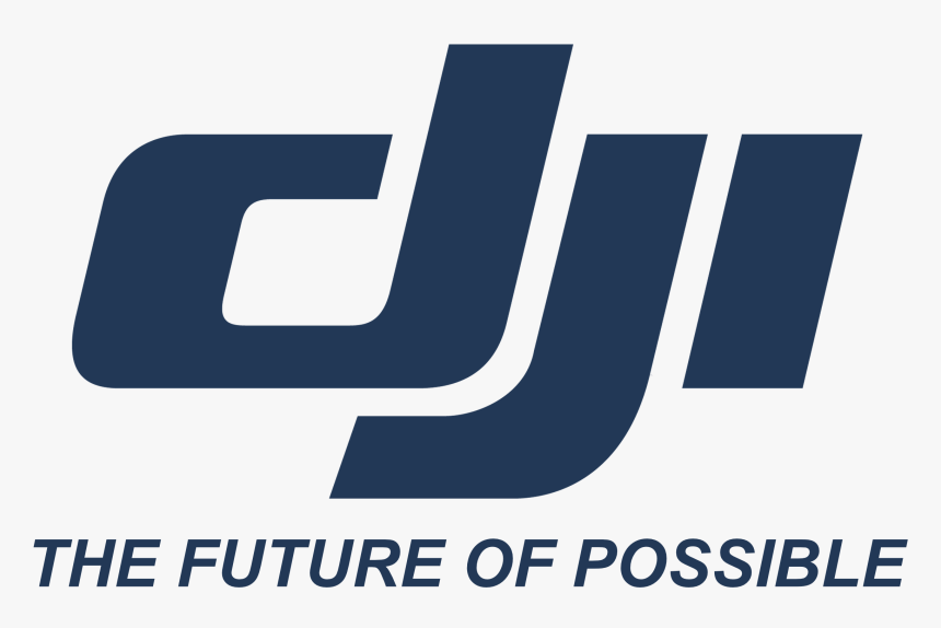 DJI Logo in blue color and white background.