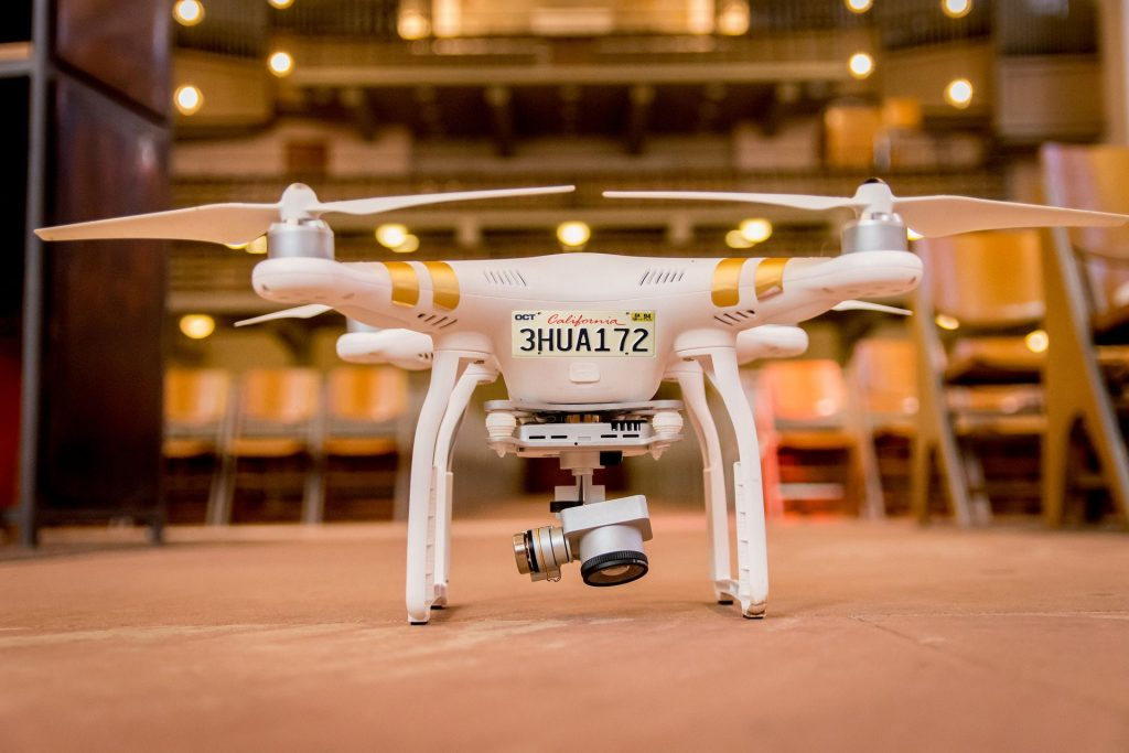 DJI Phantom drone with its registration number