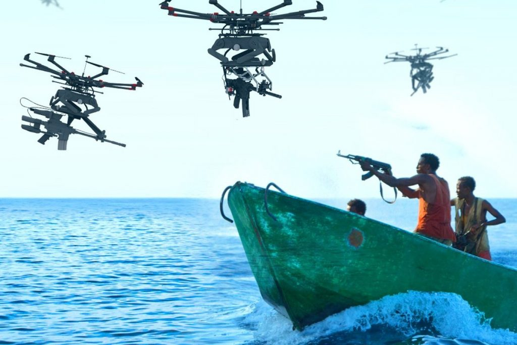 Drones carrying weapon and people in boat shooting at each other.
