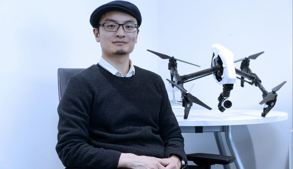 Frank Wang, founder of DJI with DJI Inspire 1.