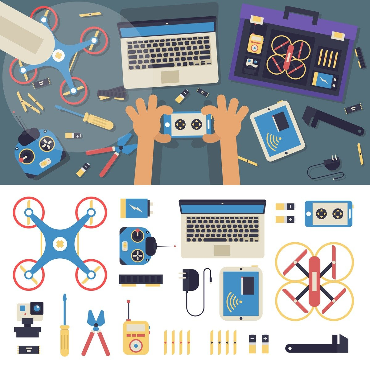An infographic showing drone repair