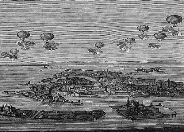 Black and White picture of first successful raid in history using ballons