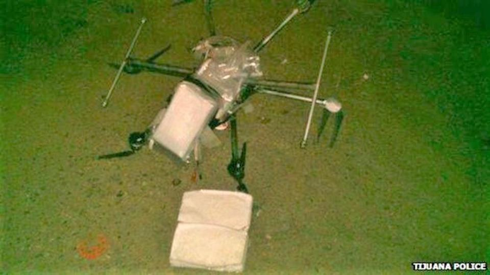 Drone lying down carrying drugs