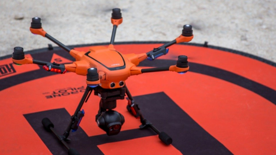 Yuneec H520 drone with its landing pad