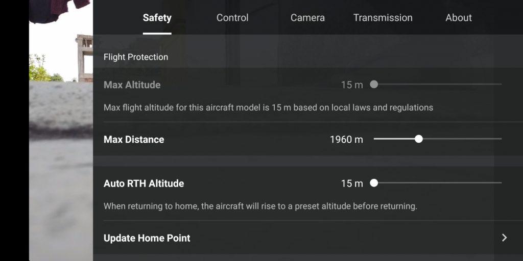 Dji Fly App showing controls.