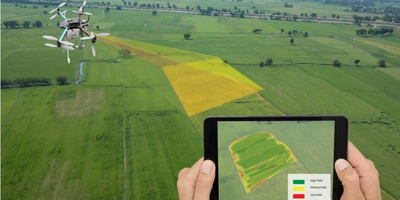 Land survey done with the help of a drone and a tablet