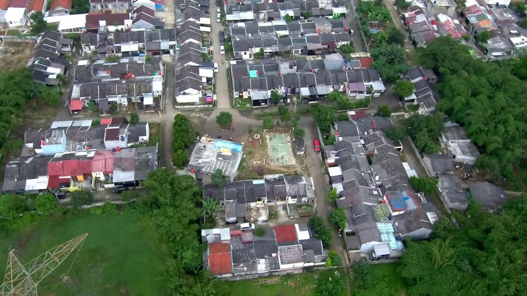 An aerial shot of lots of houses.